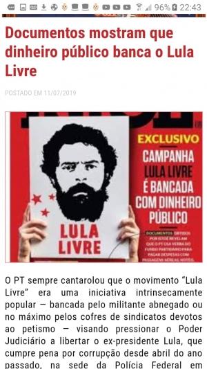 ISTOÉ: campanha Lula Livre é bancada com dinheiro público