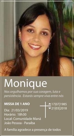Missa de Monique será nesta quinta-feira, na Maná