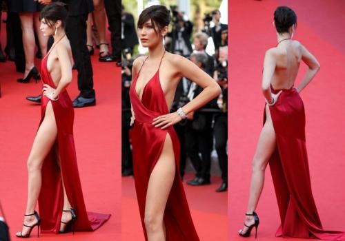 Hadid rouba cena em Cannes de longo e sem calcinha