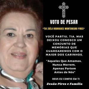 Catingueira ainda lamenta o falecimento da ex-prefeita Zuíla Pires, ocorrido na Capital